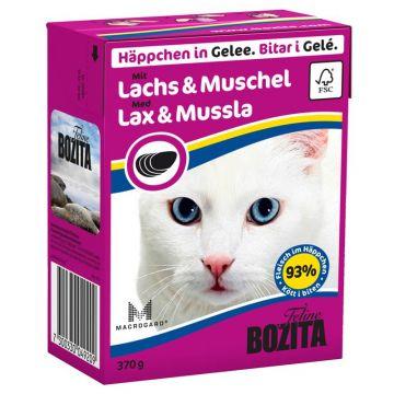 Bozita Cat Tetra Recard Häppchen in Gelee Lachs & Muschelfleisch 370g (Menge: 16 je Bestelleinheit)